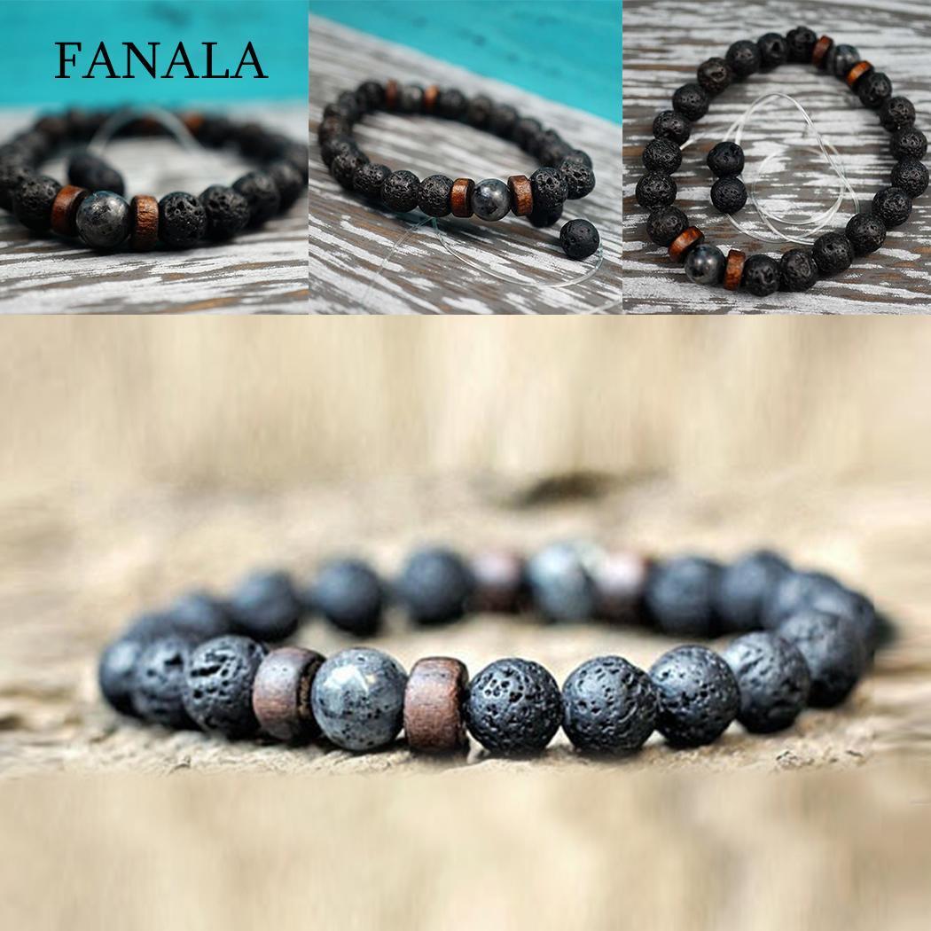 761ec23951a3f US $0.89 10% OFF|FANALA Natural Lava Rock Stone Beads Strand Bracelet Mem  Unisex Bracelet Wooden bead Accessorie Jewelry Gift bracelets for women-in  ...