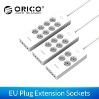 ORICO Power Strip EU Plug 4/6/8 Outlet Surge Protector Extension Sockets with 5x2.4A USB Super Charger Ports