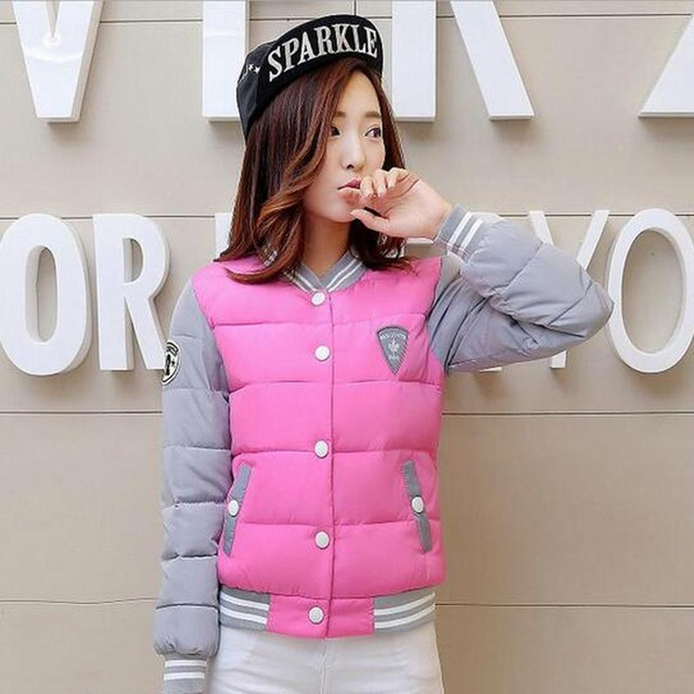 2017 New Winter Jacket Women Korea Uniform Warm Jackets Girls Cotton Warm Coat Female Parkas Plus Size Casual Basic Jacket BN016