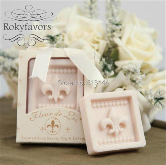 free shipping 50pcs fleur de lis soap favors scented soap bridal shower party favors ideas wedding
