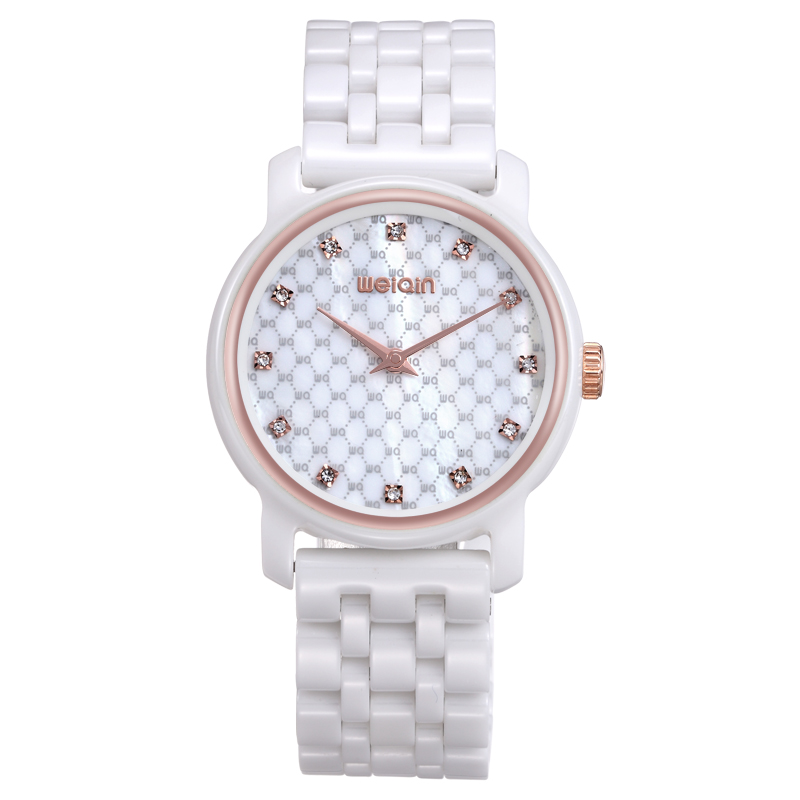 New Quartz watch WEIQIN Band Fashion White Ceramic Rhinestone Watches Women Analog Clock Ladies Watch reloje Relogios Feminino weiqin 1096 fashion rhinestone scale quartz watch for female
