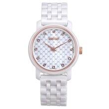 Nueva Manera de La Venda de reloj de Cuarzo WEIQIN Rhinestone Mira a Las Mujeres Reloj Analógico Reloj de Señoras De Cerámica Blanca Relogios Feminino reloje