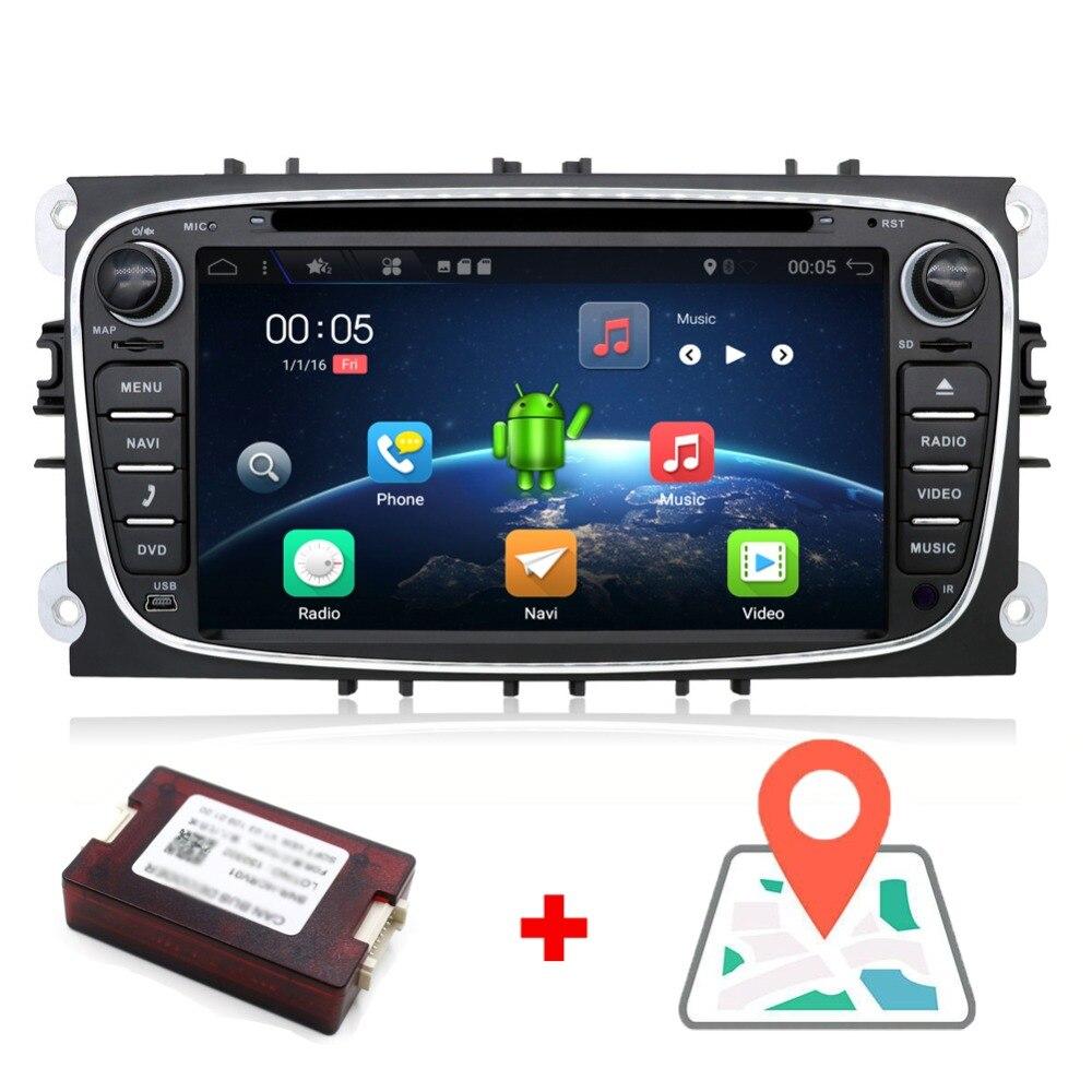 Voiture radio 2 din Android 7.1 voiture dvd lecteur cassette pour ford focus 2 voitures bande enregistreur gps navigation avec wifi volant