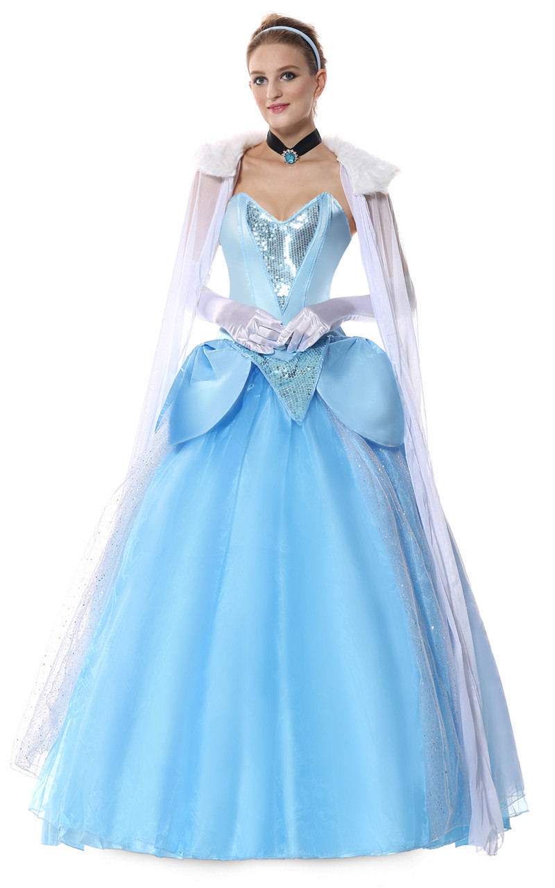 Halloween Elsa Queen Anna Princess Cosplay Costume Blue Fairy Tales ...