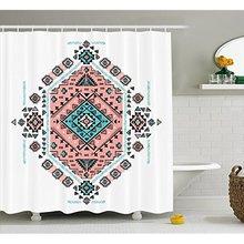 Vixm Tribal Decor Shower Curtain Mexican Native American Ethnic Symmetrical Four Corner Art Pattern Fabric Bath