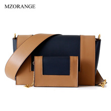 High Quality Fashion Women Cow Leather Handbags Luxury Brand Shoulder Flap Stiching Color Crossbody Bags For Female 2019