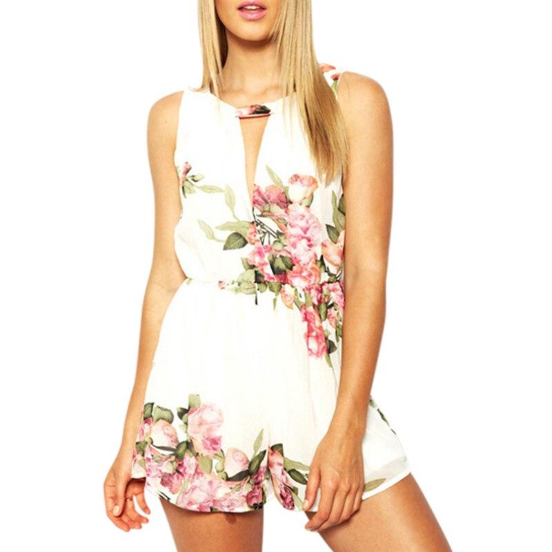 open back chiffon floral romper womens Summer playsuits jumpsuit 2017 summer cute feminino vestidos female overalls