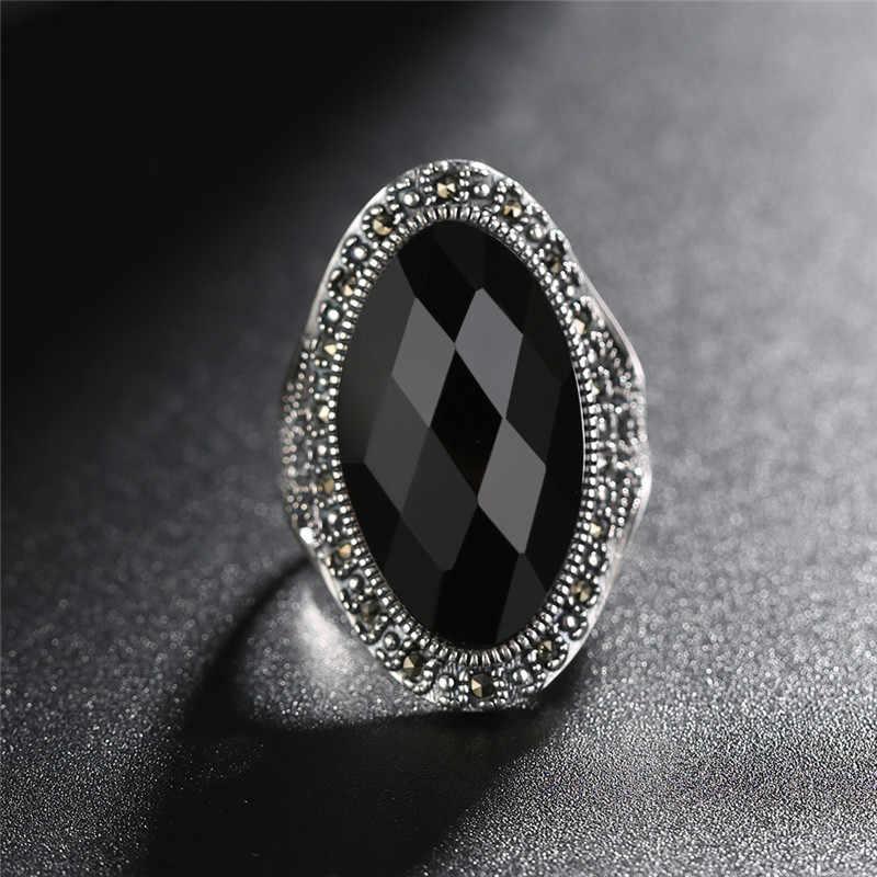 V. יה מתכוונן 925 כסף גדול טבעת לנשים שחור אדום אבן תכשיטי בציר מסיבת יום נישואים טבעות באיכות גבוהה