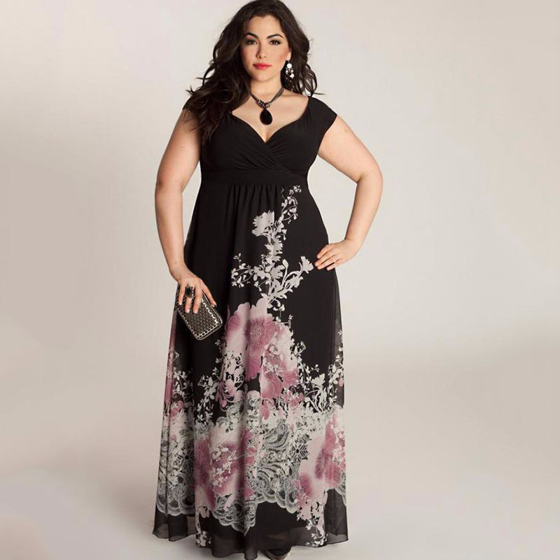 Detail Feedback Questions about Black Evening Gown 2018 Robe De Soiree  Cheap A Line V Neck Plus Size Formal Evening Dresses Foral Print Wedding Party  Gowns ... b8b0434c23a3