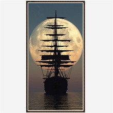 3D Diy Diamond Painting Cross Stitch Sailboat Rhinestones Crystal Diamond Embroidery Mosaic Needlework Moon and Ship Wall Crafts(China)