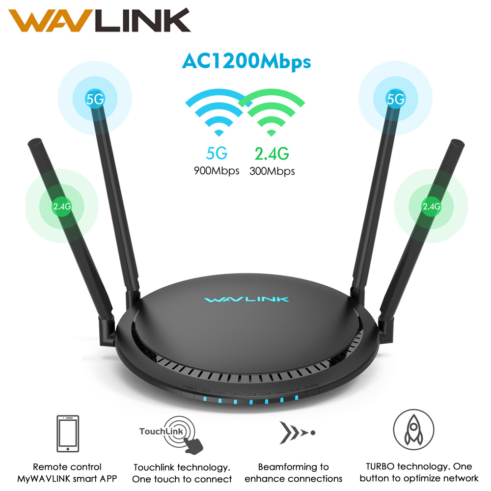 Wavlink AC1200 WiFi Router Gigabit 5Ghz WiFi Extender Booster 2.4Ghz WiFi Repeater 1200Mbps 4x5dBi Touchlink Smart Dual-Band