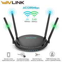 Wavlink AC1200 WiFi Router Gigabit 5Ghz WiFi Extender Booster 2.4Ghz WiFi Repeater 1200Mbps 4x5dBi Touchlink Smart Dual Band
