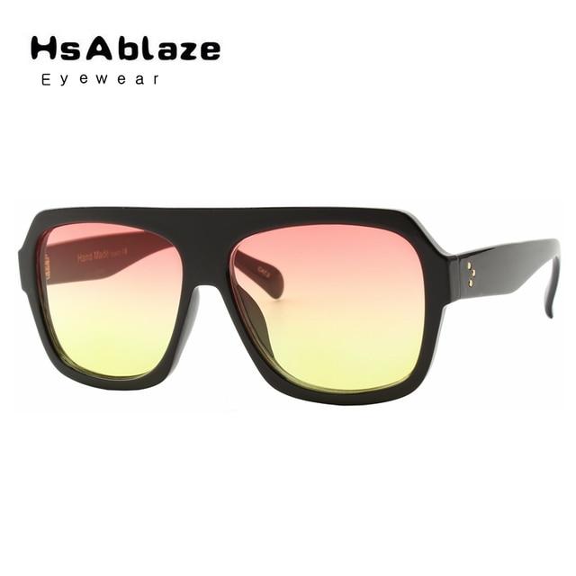 da75d6525c HsAblaze Gafas Espejo Plano Superior Transparente de Gran Tamaño Gafas de  Sol de marca de Lujo