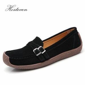 Image 4 - Zapatos de mujer Hosteven mocasines planos mocasines Oxfords barco Casual cuero genuino mujer cuero negro zapatos