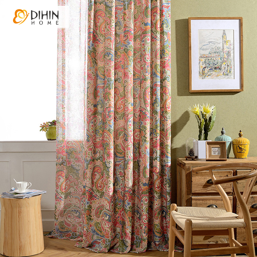DIHIN 1PC 2 Colors Garden Window Shade Blackout Curtains