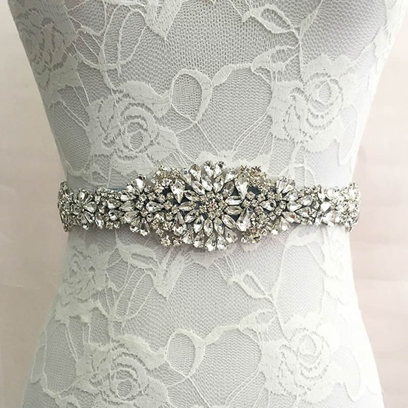 Belt Sash Wedding-Accessories Prom-Dress Bridal-Ribbon Crystal Rhinestone Evening Women