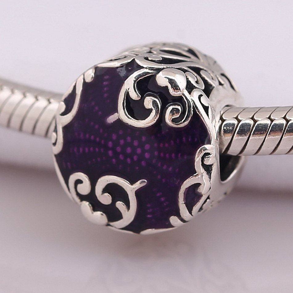 Authentic 925 Sterling Silver Bead Purple Enamel Regal Beauty Charm Fit Pandora Bracelet Bangle DIY Jewelry 1pcs ptfe round sheet teflon plate polytef plate size dia 5 08cm thickness 1 1cm