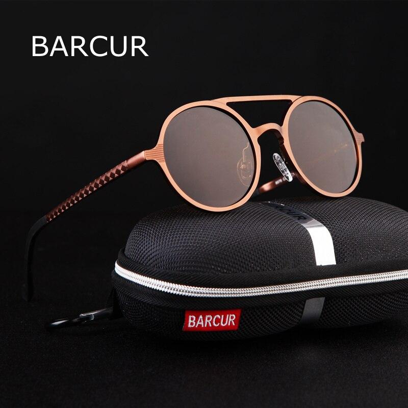 BARCUR Retro Aluminium Magnesium Sonnenbrille Polarisierte Vintage Brillen Zubehör Frauen Sonnenbrille Fahren Männer Runde Sonnenbrille