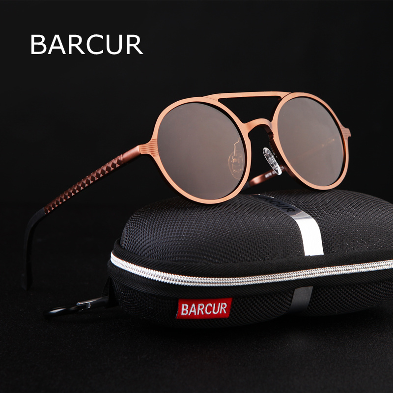BARCUR Retro Aluminium Magnesium Sunglasses Polarized Vintage Eyewear Accessories Women Sun Glasses Driving Men Round Cunglasses