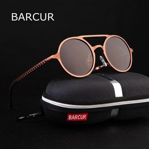 BARCUR Retro Aluminum Magnesium Sunglasses Polarized Vintage Eyewear Accessories Women Sun Glasses Driving Men Round Sunglasses Pakistan