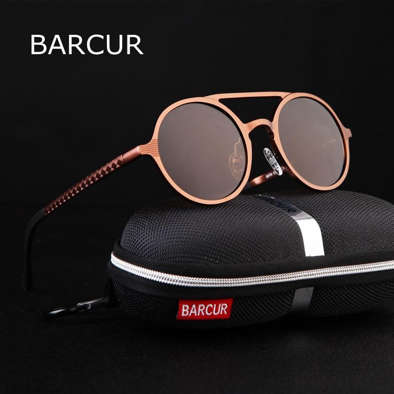 BARCUR Retro In Alluminio Magnesio Occhiali Da Sole Polarizzati Dell'annata Accessori di Eyewear Donne Occhiali Da Sole di Guida Degli Uomini Rotondi Occhiali Da Sole