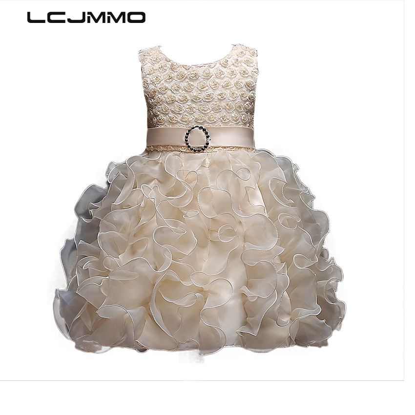 Flower Kids Party Costume For Girls TuTu Prom Dresses Children's Clothing Girl Princess Ball Gown Dress Outfits 4-8 Years 2017 new flower lace girls dress princess dresses solid wedding dress girl clothing sleeveless ball gown girl costume kids ds003