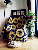 Coarse cotton thread sunflower carpet thin blanket tie dye Ethnic Art blanket bed cover living room bedroom Felts tapestry