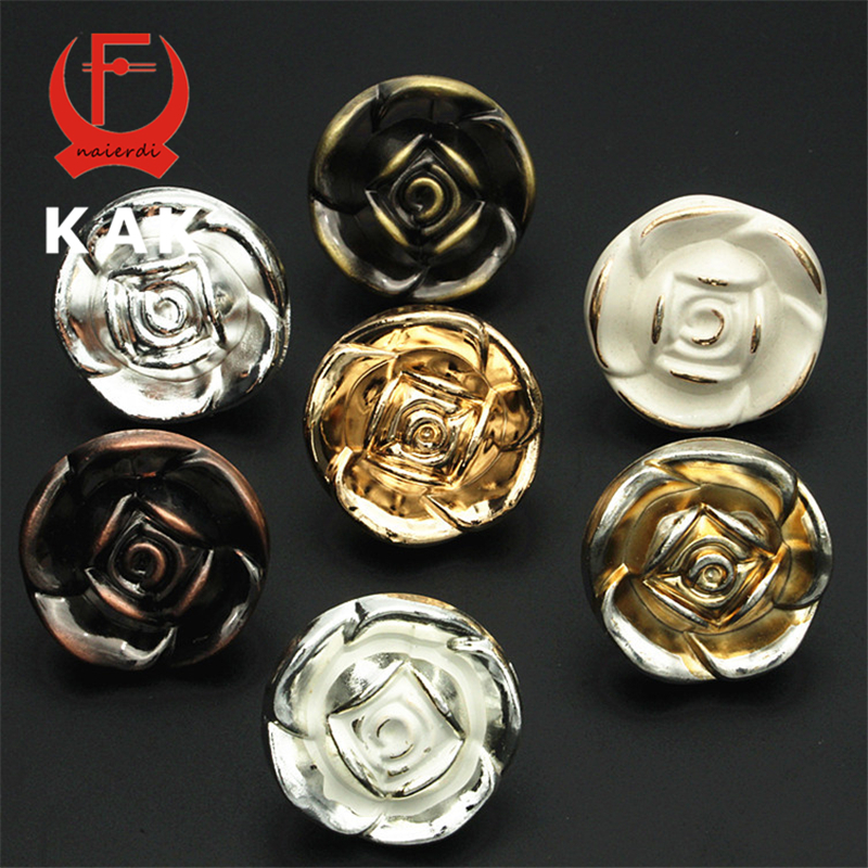KAK 5pcs/set Zinc Alloy Flower Rose Shape Cabinet Handles Wardrobe Door Handles Pulls Drawer Knobs Fashion Furniture Hardware