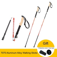 Anti Shock Nordic Walking Sticks Telescopic Trekking Hiking Poles Climbing Sticks Ultralight Walking Canes With Cork