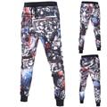 Multicolor impresso skinny basculadores sweatpants homens moda cool men carga calças novidade pista calças Com Cordão calças Lápis D027