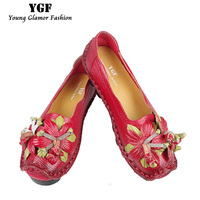 YGF Ballet Flats Women Handmade Flat Shoes Genuine Leather Moccasins For Women Summer Flats Shoes Slip