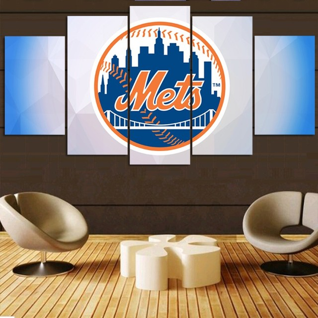 5 Panels New York Mets MLB Team Fans Oil Painting On Canvas Modern Home  Pictures Prints