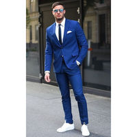 Two Buttons Royal Blue Men Suits Business Men Tuxedos Prom Suit Jacket+Pants Custom Made Suits A0216