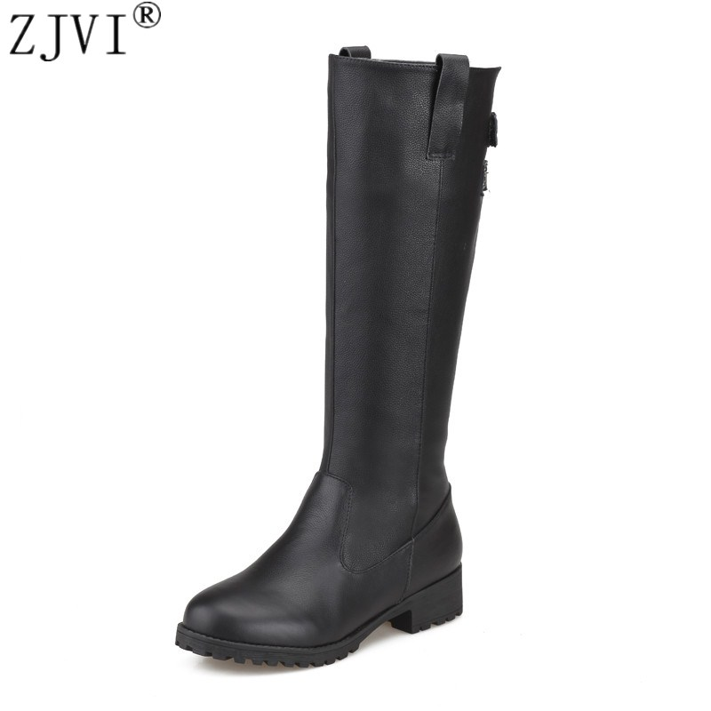 ZJVI Russia sexy ladies fashion buckle winter woman boot genuine leather women black shoes female thigh high knee high boots piston assy 68mm for honda gx200 6 5hp enges free shipping cheap kolben w rings wrist pin