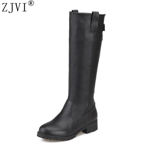 ZJVI Russia sexy ladies fashion buckle winter woman boot genuine leather women black shoes female thigh high knee high boots