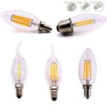 E12 E14 E27 LED mum şeklinde ampul C35 ışık 2 W/4 W/6 W 110 V/220 V sıcak/soğuk beyaz Retro Filament lamba avize aydınlatma 360 derece