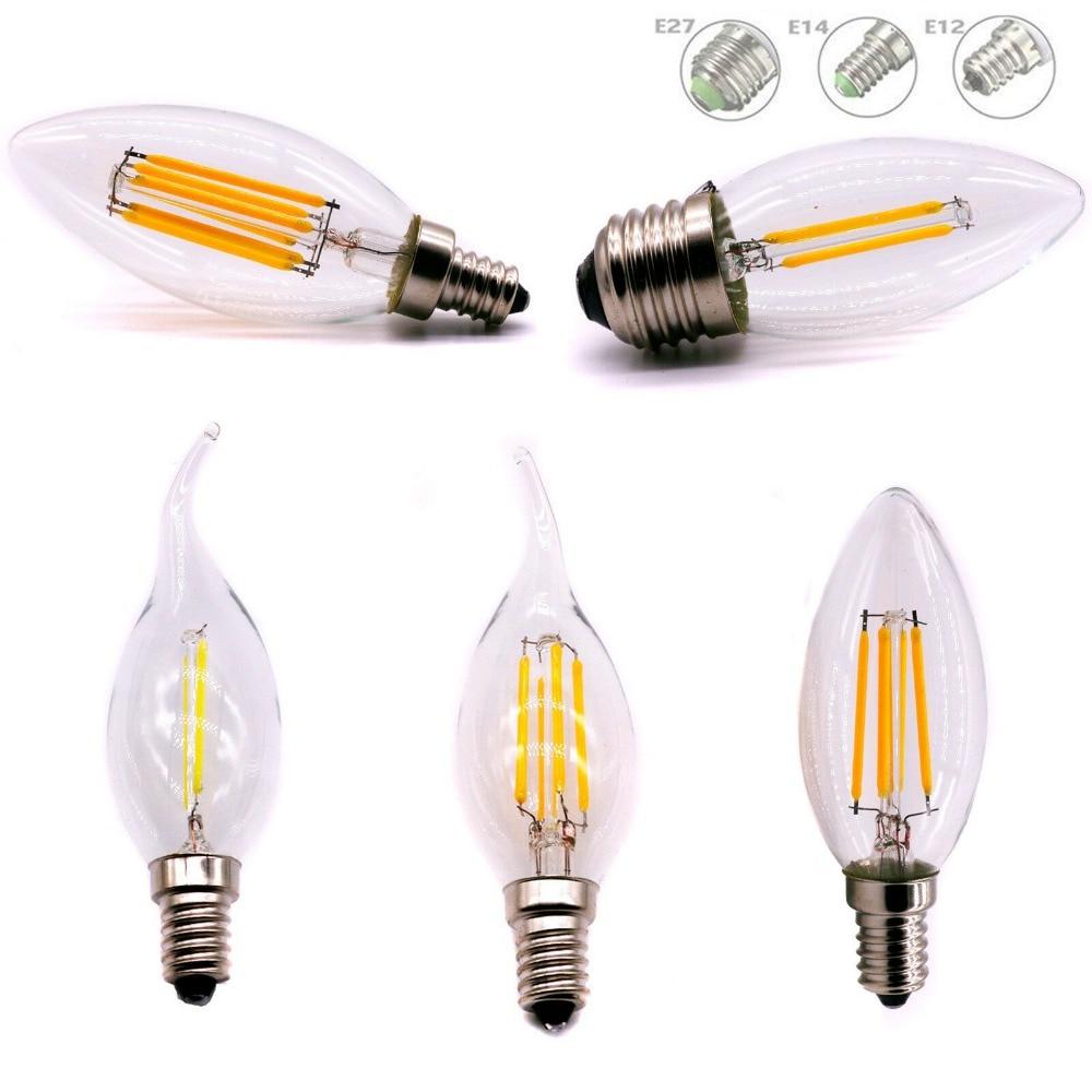 E12 E14 E27 LED Candle Bulb C35 Light 2W/4W/6W 110V/220V Warm/Cool White Retro Filament Lamp For Chandelier Lighting 360 Degree