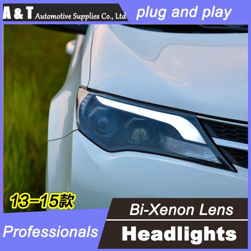 car styling For Toyota RAV4 headlight assembly U angel eyes 2013-2015 For RAV4 bi xenon lens h7 with hid kit 2 pcs hireno headlamp for 2016 hyundai elantra headlight assembly led drl angel lens double beam hid xenon 2pcs