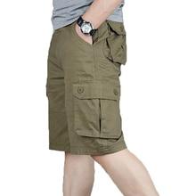 Мужские шорты Карго, летние, модные, армейские, военные, тактические, мужские шорты, повседневные, с несколькими карманами, мужские мешковатые брюки размера плюс 42, 44, 46
