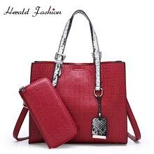Herald Fashion Quality Leather Female Shoulder Bag Serpentine Women Handbag Large Casual Tote Ladies Crossbody Sac