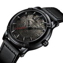 Leather Strap Mens Watches Brown Fashion Stylish Wolf Dial Classic Analog Quartz Wristwatch Men Waterproof Relogio Masculin