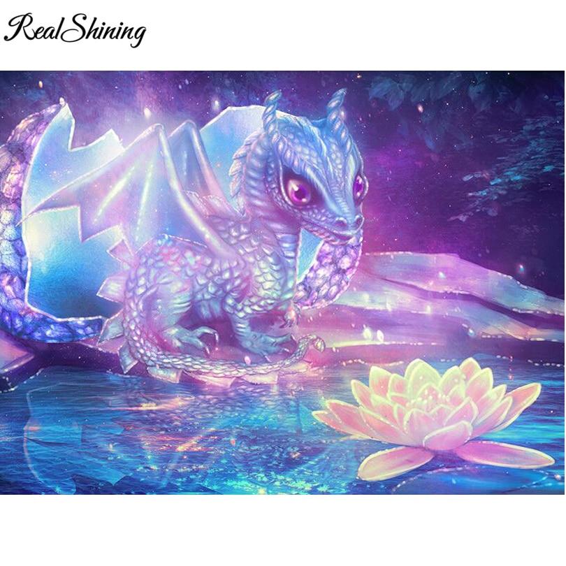 REALSHINING Diamond Embroidery Dragon Lotus 3d Diamond Painting Cross Stitch Picture Of Rhinestones Full Square Mosaic FS1175