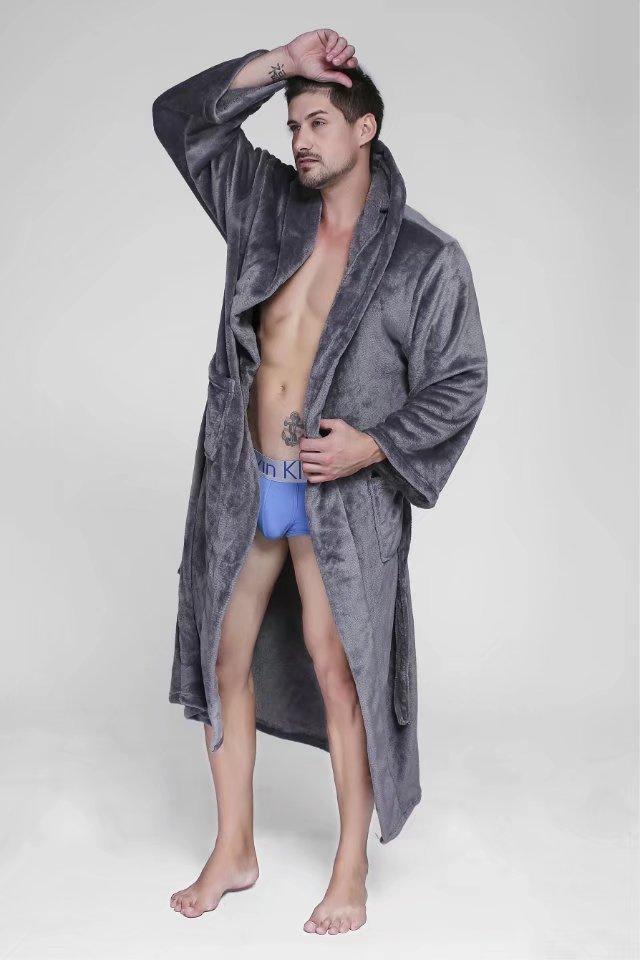 Plus größe XXXL 160 kg bademantel für männer robe mit kapuze Winter lange ärmeln exquisite plüsch herren dressing kleid paare roben unisex