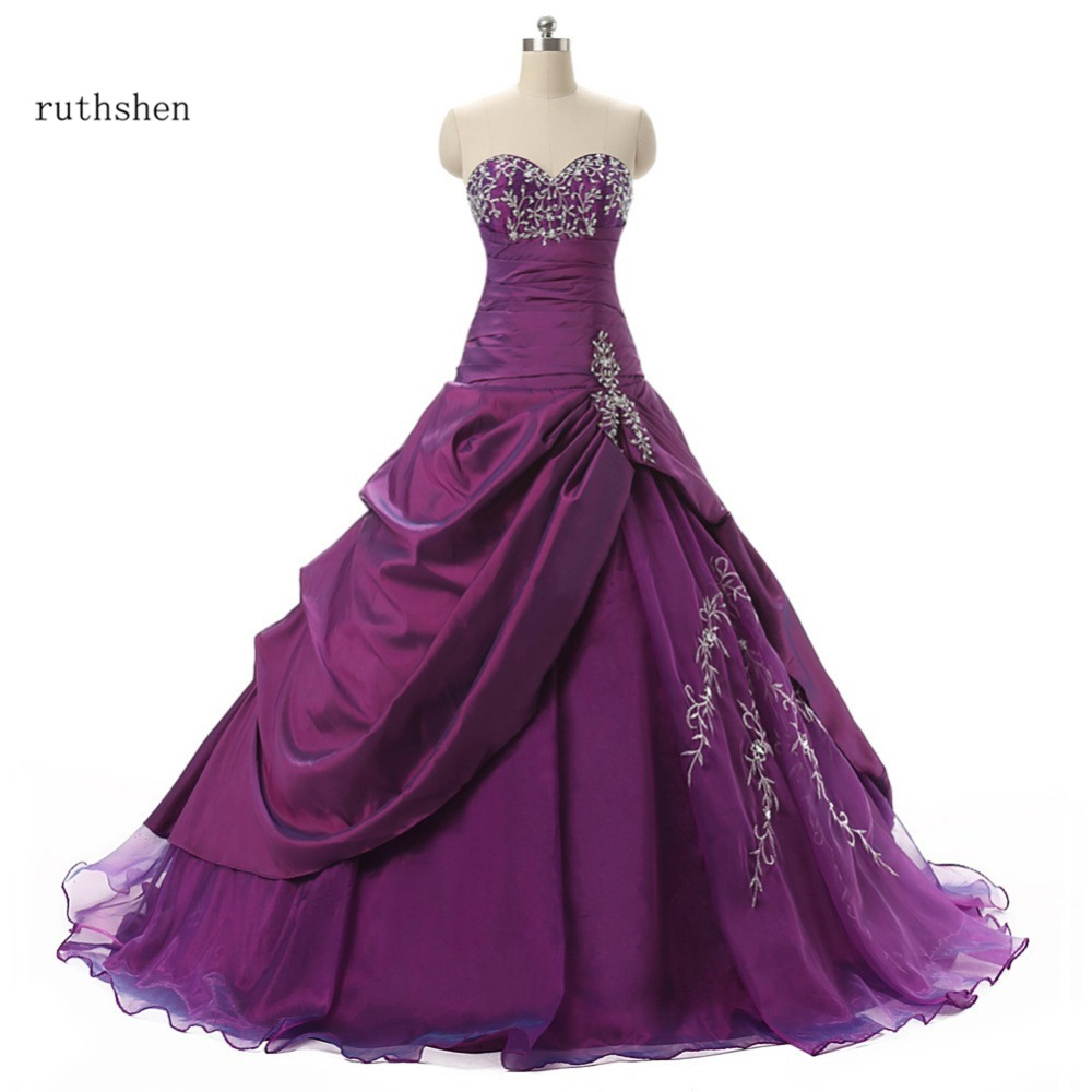 ruthshen Purple Cheap Quinceanera Dresses 2019 With Embroidery Beaded Ruffles Masquerade Ball Gowns Real Photo Vestido