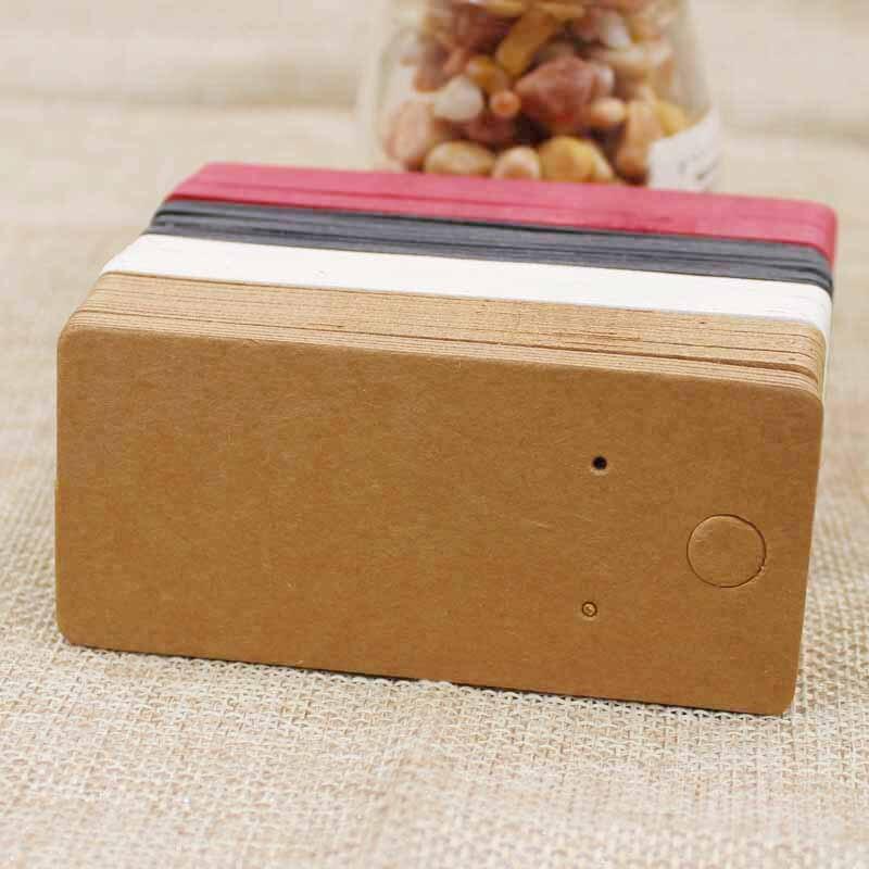 100pcs 4*9cm Kraft/black /hot Pink/white Paper Blank Jewelry Display Card Cardboard Earring Package Hang Tag Card