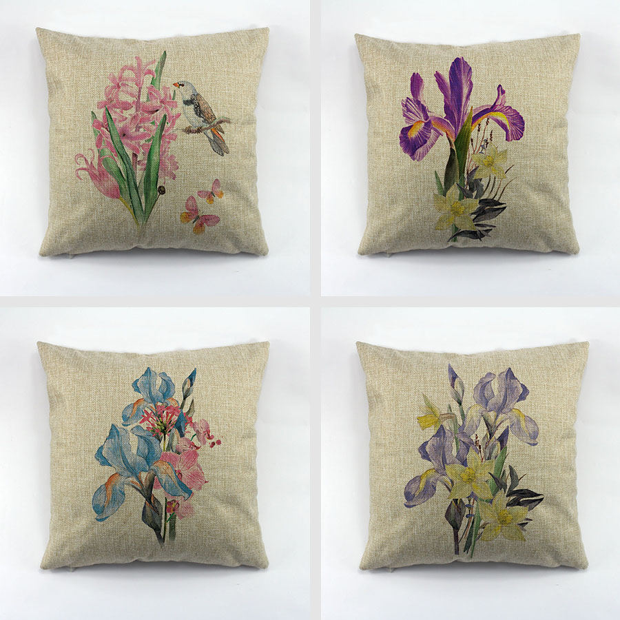 Decorative Throw Pillow Cover Orchid Linen Cushion Cover Oli Printing  Design Throw Pillows Cover For Couch