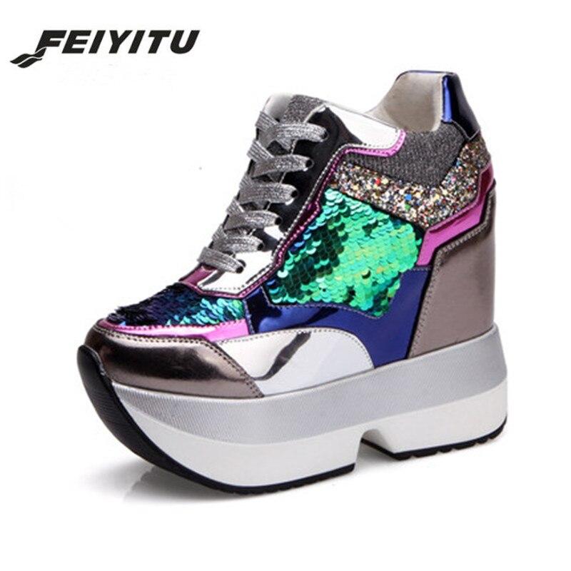 Feiyitu Nouvelle arrivée 2018 Printemps Mode casual chaussures femmes Haute Plate-Forme Chaussures 13 cm à semelles épaisses femelle Formateurs Or Argent
