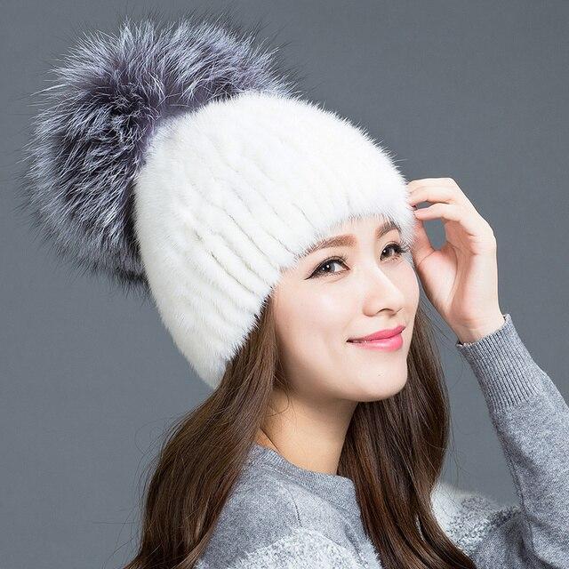 2016 Новый Стиль Зимой меховая шапка Для Российских Женщин Реального Трикотажные норки меховая шапка С Большой Лисий Мех мяч норки волос шляпа женщина зима Cap