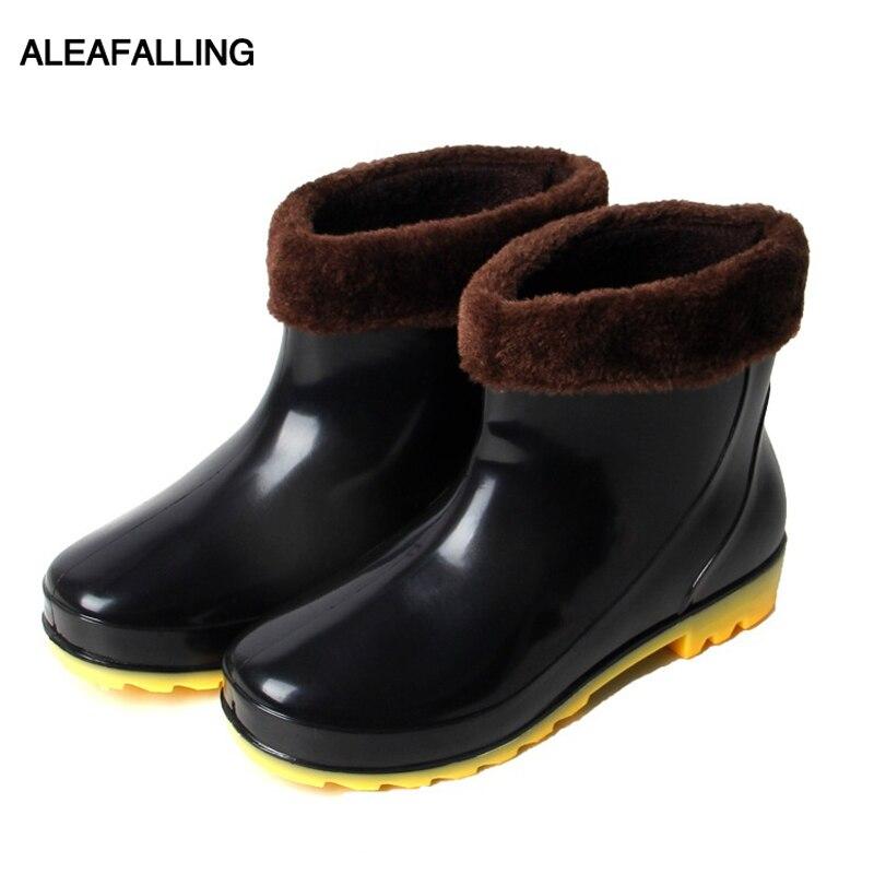 Botas de lluvia Aleafalling para Hombre Zapatos impermeables de cubierta extraíbles Unisex Anti-skip jardín cocina zapatos de trabajo zapatos de lavado de coches AM06