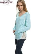 Game Of Love Junior's Fashion V Neck Knit Top Hooded With Crochet Side Seam